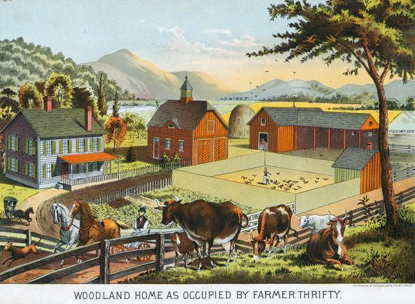 "Illustration of an immaculate farmstead captioned as ""Woodland home as occupied by Farmer Thrifty""."