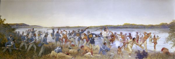 Painting by Cal Peters depicting the battle of Bad Axe at the Wisconsin River on August 2, 1832.