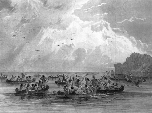 Illustration of the Ojibwa, the Sacs, and Foxes battling from canoes on the water.