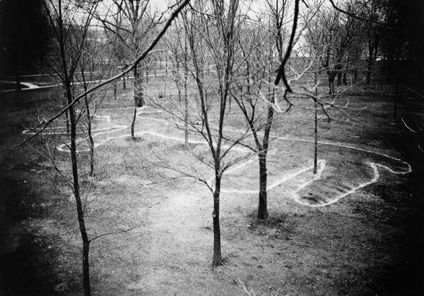 Elevated view of a four-footed American Indian effigy mound on the grounds of the Mendota State Hospital (Mendota Mental Health Institute).