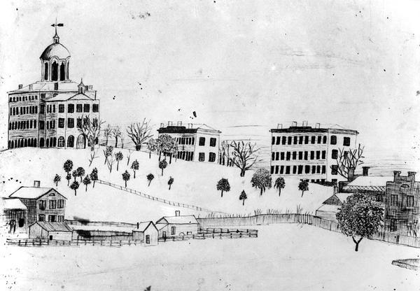 Drawing of University Hall by D.C. Salisbury showing the view from the bottom, south side of the hill on the University of Wisconsin campus.  Bascom Hall, built in 1859, was originally called University Hall. This sketch shows North Hall, built in 1851, the first building atop of College Hill; Old Science Hall built in 1877; and probably Chemical Engineering building, built in 1885. Bascom Hill was originally called College Hill.