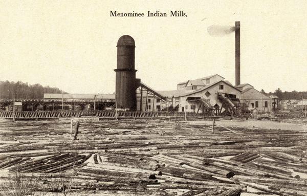 Sawmill on a Menominee Indian reservation with numerous logs in the foreground.