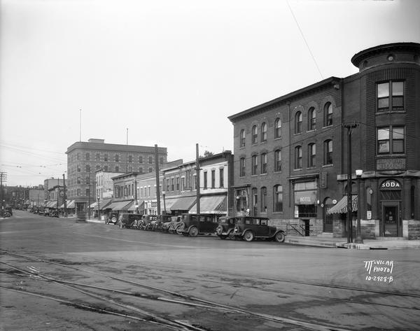 View across railroad tracks towards the Elver House, later the Wilson Hotel, on East Wilson Street.