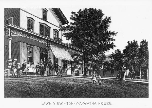 Illustration of people standing in front of the popular tourist resort Tonyawatha House from a book of two-tone lithograph views of Madison. About 1885 the name was changed to Tonyawatha Spring Hotel.