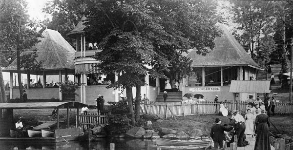 Monona Lake Assembly, The Casino. This structure, including the ice house and provision space, designed by Conover and Porter and built for $1700.00 in June-July 1896. The Assembly was modeled after one in Chautauqua, New York, for training Sunday school teachers. Later, its purpose broadened to include all sorts of intellectual pursuits.