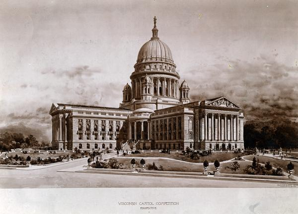"Architect's design of the 4th Wisconsin State Capitol (the third built in Madison). ""Perspective"" by George B. Post and Sons."