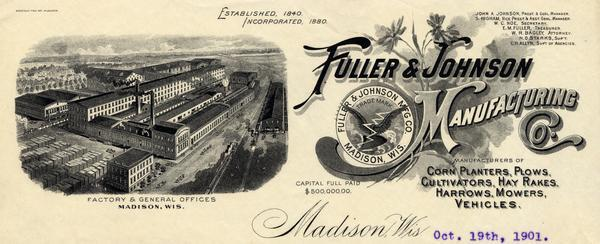 Fuller & Johnson Manufacturing letterhead.  Fuller & Johnson was run by John A. Johnson and was one of Madison's largest employers.