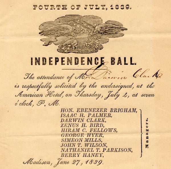 Invitation for Darwin Clark to the Independence Ball on the 4th of July, 1839 at the American Hotel.
