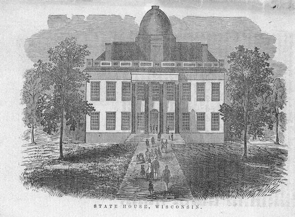 The Wisconsin State Capitol (the second State Capitol, the first in Madison). Illustration from the <i>American Encyclopedia</i>, Columbus, 1859.