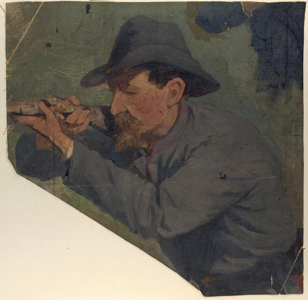 Oil on linen study of a Confederate Civil War sharpshooter aiming his rifle, created as a preliminary study for a Civil War cyclorama.  Although unsigned the study is probably by F.W. Heine.  Previously thought to be studies for a Gettysburg cyclorama, they are now thought to be depictions for the cycloramas of battles of Atlanta and Missionary Ridge.