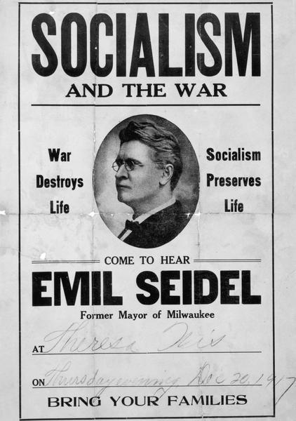 Poster publicizing a speech on Socialism by Emil Seidel, former mayor of Milwaukee.