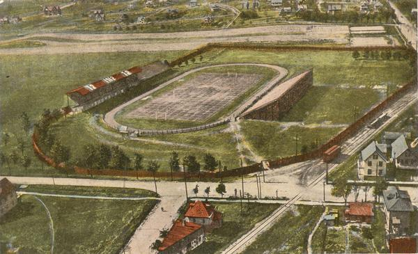 Color postcard of an aerial view of Camp Randall Stadium at the University of Wisconsin-Madison.