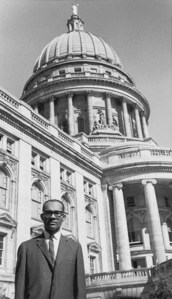 Lloyd Barbee poses in front of the Wisconsin State Capitol.