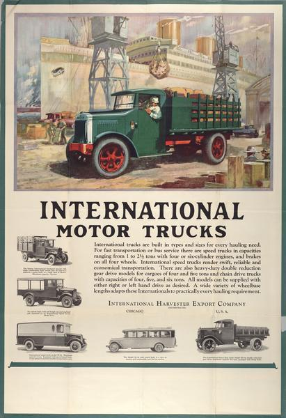 Advertising poster for International trucks. Features a color illustration of a truck at a wharf or dock with a large ship in the background.