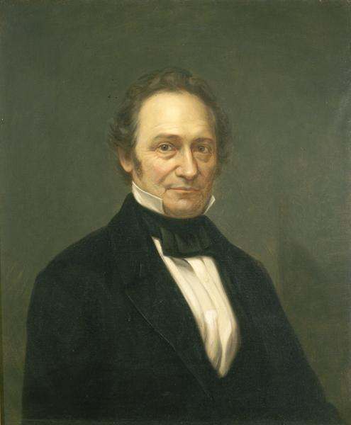 Portrait of Wisconsin territorial Governor James Duane Doty. Land speculator and judge, Doty engineered the selection of Madison as the permanent capital in 1836. The legislature placed him and two others in charge of erecting public buildings in Madison.  Doty's plan placed the capitol on a hill at the center of the isthmus. The capitol has remained on that site ever since.