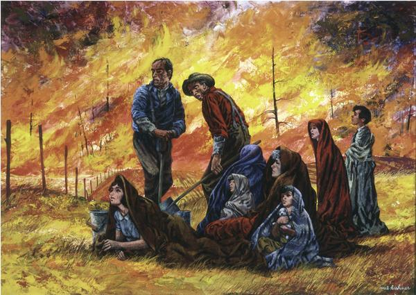 Families huddled in a field in the Sugar Bushes, attempting to escape the Peshtigo Fire.