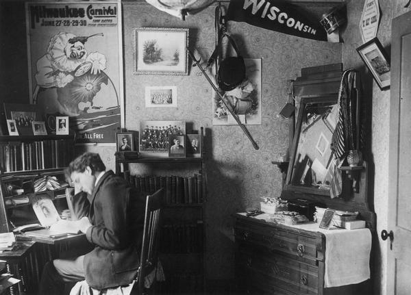 A student studies in his dorm room.