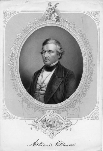 A head and shoulders portrait of Millard Fillmore, 13th President of the United States, 1850-1853.  Fillmore was born in the Finger Lakes country of New York on January 7, 1800 and died March 8, 1874.  As Vice-President, he succeeded Zachary Taylor as Presdent when Taylor died in office.  His party, the Whigs, blocked his nomination for re-election in 1852.