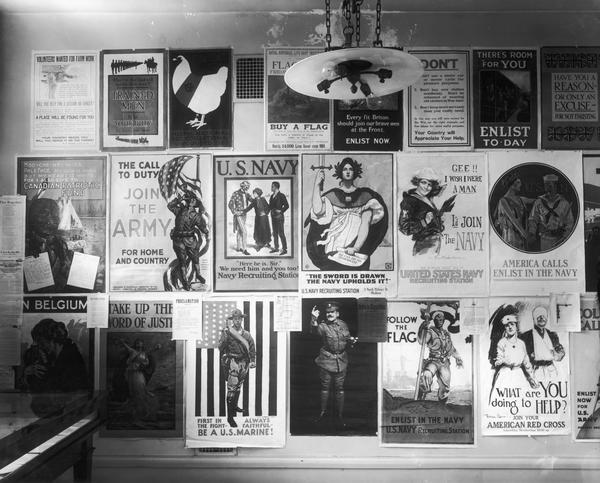 Wall of World War I posters.