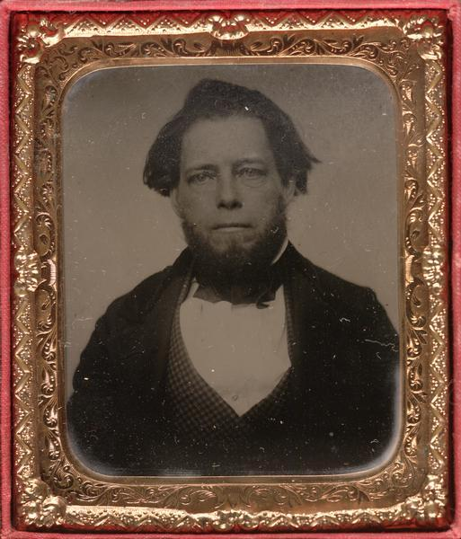 Sixth plate ferrotype/tintype portrait of Lyman Draper (1815-1891), an American historical collector and librarian.