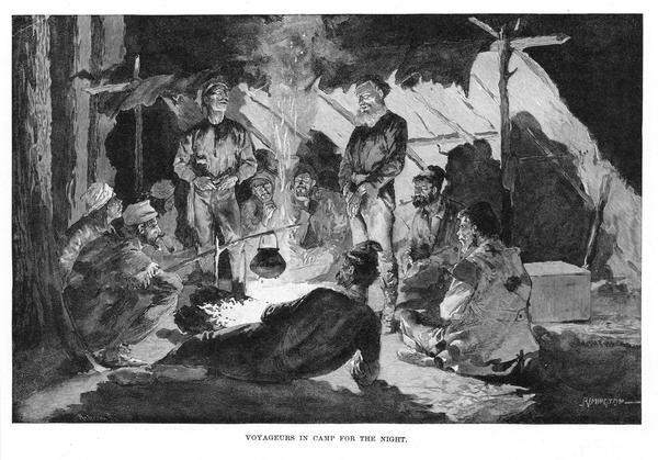 Engraving of voyageurs gathered around a fire at their camp.