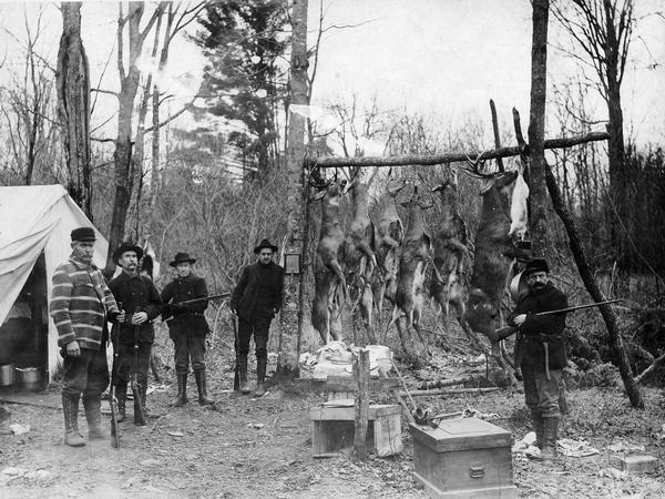 Five deer hunters pose at a camp next to deer carcasses hung up on a log pole.