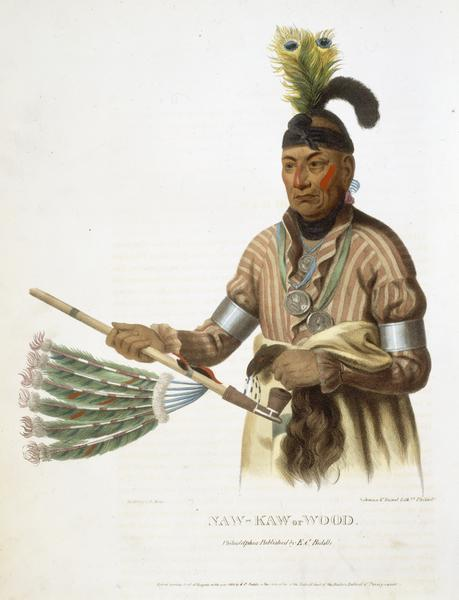 Naw-Kaw or Wood. Hand-colored lithograph from History of the Indian Tribes of North America.