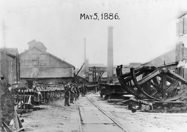 Edward P. Allis Reliance Works under the protection of the Wisconsin State Militia during the first general labor strike.  The strike is also known as the Eight Hour Riots of May 1886.