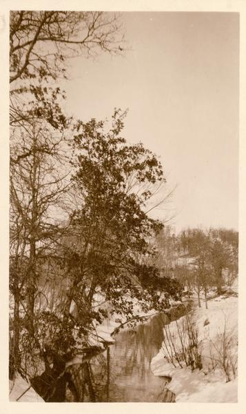 Winter scene with stream and snow-covered trees, probably near Taliesin, the home of Frank Lloyd Wright.  Wright dammed the stream to supply water to Taliesin. Taliesin is located in the vicinity of Spring Green, Wisconsin.
