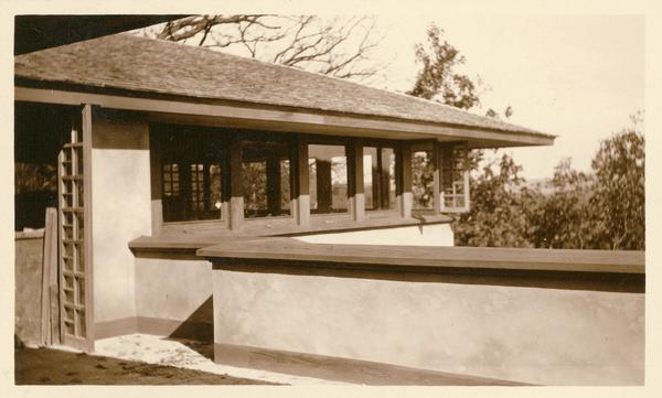 Exterior view of the eastern corner of the living room at Taliesin, probably during construction, from the terrace off the dining room.  Taliesin was the home of Frank Lloyd Wright. Taliesin is located in the vicinity of Spring Green, Wisconsin.
