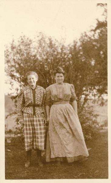 Two unidentified women possibly at Taliesin, the home of Frank Lloyd Wright.  Taliesin is located in the vicinity of Spring Green, Wisconsin.
