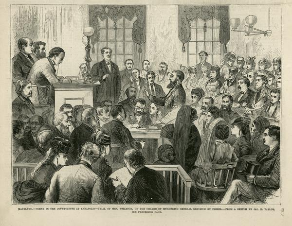 Illustration of Dr. Williams being sworn in as an expert medical witness at the Wharton trial.