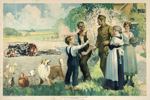 "Advertising poster of World War I veteran returning home to family, farm and new Titan 10-20 tractor. The caption on the poster reads ""Look what dad bought for you, Bill."" Features a color illustration of the tractor."