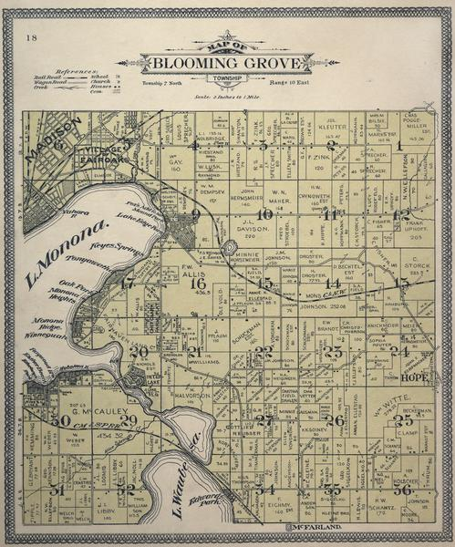 "Plat Map of Blooming Grove in ""Atlas of Dane County, Wisconsin."""