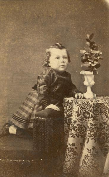 Frank Lloyd Wright as a young child.  The photograph was made in McGregor, Iowa, where Wright's father briefly served a Baptist congregation as minister after leaving his parish in Richland Center, Wisconsin.