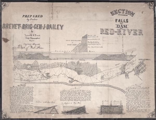 "This map shows pictorially a section of bracketdam, section of tree dam, and crib of stone. This map was prepared by order of General Joseph Bailey and is ink on tracing cloth. An inset map shows a cross section of a cliff at Rocky Point. Also included are three columns of notes and an annotation in pencil below the title that reads: ""May 1864."""