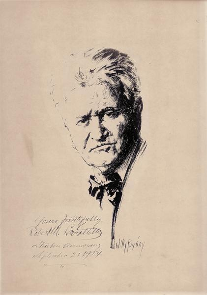 Pen sketch of Robert M. La Follette, Sr., by Willy Pogany in 1924. The original bears La Follette's signature.