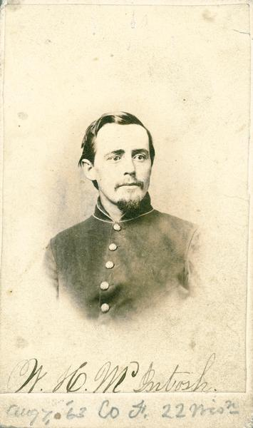 Carte-de-visite of William H. McIntosh, Company F, 22nd Wisconsin Infantry, at the age of 26.