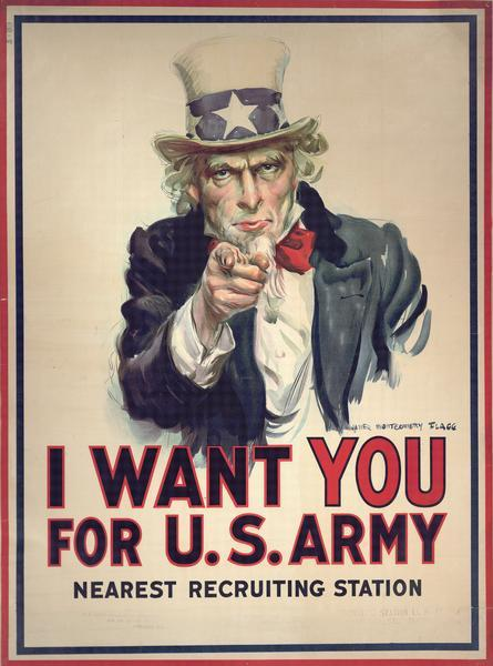 "Uncle Sam recruiting poster that says ""I want You for U.S. Army"". Poster has three different addresses for nearest recruiting offices."