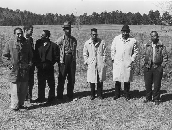 Bob Moses, Julian Bond, Curtis (Hayes) Muhammad, Willie Peacock, Hollis Watkins, Amzie Moore and E.W. Steptoe on Steptoe's farm.