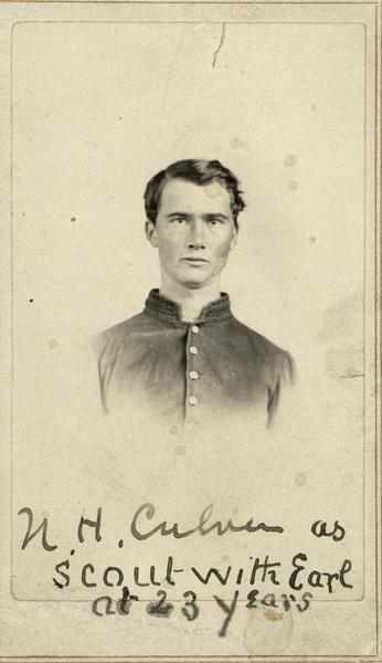 Portrait of Newton H. Culver, Company C, 4th Wisconsin Cavalry, at 23 years of age.