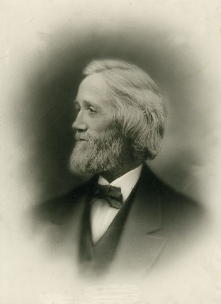 A portrait of Christopher Latham Sholes, the inventor of the typewriter.  Sholes was an editor in Kenosha, Wisconsin, and later continued this work in Milwaukee, Wisconsin.  Sholes invented the typewriter during his time in Kenosha.