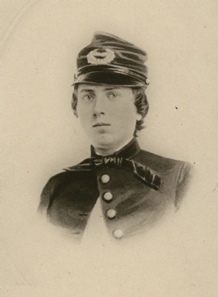 Head and shoulders portrait of Lieutenant Alonzo Cushing of Battery A, 4th Artillery, U.S.A.