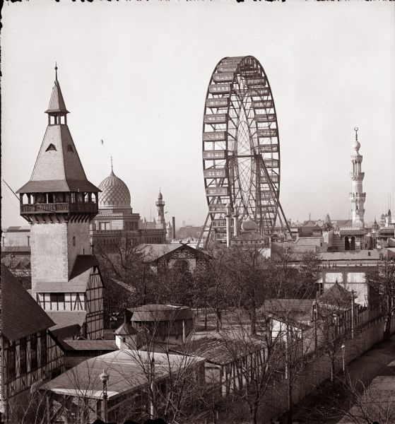 Elevated view of the Ferris wheel and midway at the Columbian Exposition, viewed from Hotel Epworth.