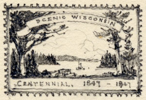 Wisconsin Centennial Commemorative Stamp Sketch