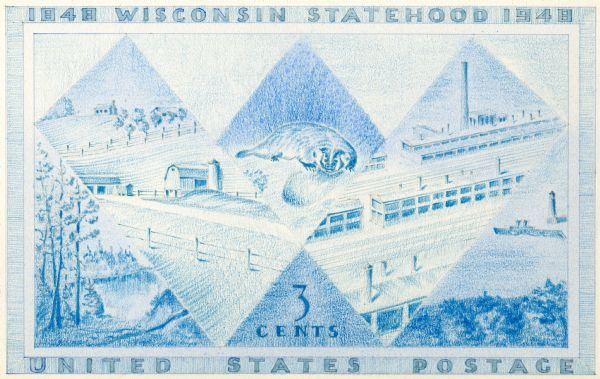 "Design in blue for Wisconsin Centennial 3 cent postage stamp featuring a badger in a subtle ""W"" design."