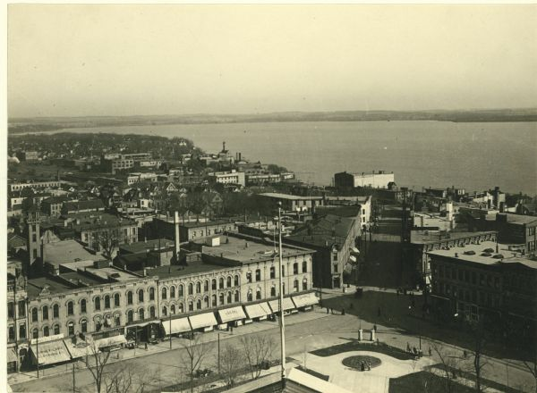 View from the top of the Wisconsin State Capitol looking east down King Street toward Lake Monona.