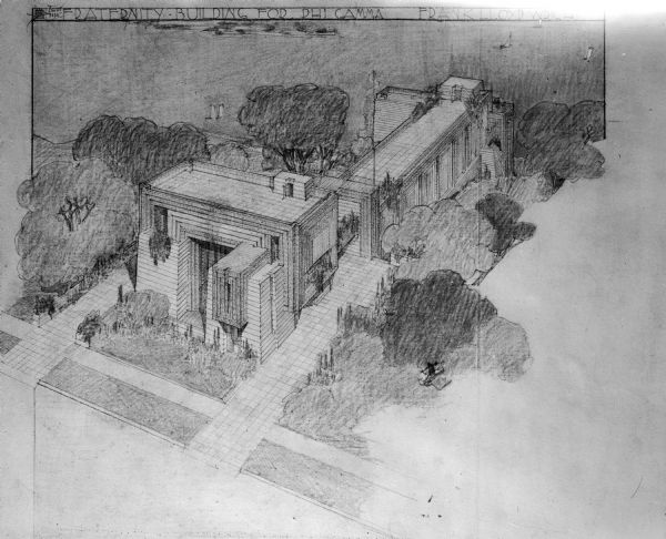The proposed design for the Phi Gamma fraternity  house on Langdon Street by Frank Lloyd Wright. This design was found unsuitable and the building was never built.