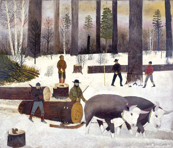 A two-man team of sawers work on a massive tree with a crosscut saw (right) while a man with an an axe waits to trim branches. The trunks are then cut down to a manageable size and maneuvered by peaveys and cant hooks (left). A pair of oxen pull the log, secured with chains to a sled, out of the snow-covered woods.