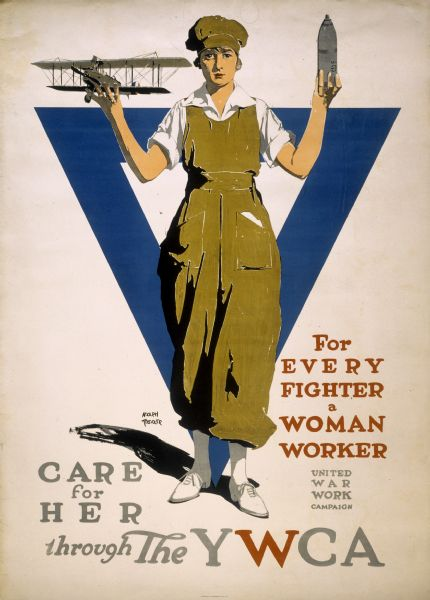 "A female factory worker standing with her arms upraised, holding a miniature airplane in one hand and a bombshell in the other. In the background is the YWCA blue triangle. The poster was issued by the Young Woman's Christian Association, to promote their United War Work Campaign. The slogan reads ""For Every Fighter, a Woman Worker, United War Work Campaign."""